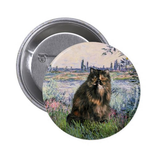 By the Seine - Persian Calico cat 2 Inch Round Button