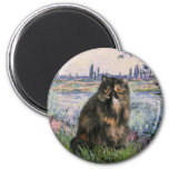 By the Seine - Persian Calico cat Refrigerator Magnets