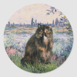 By the Seine - Persian Calico cat Round Sticker