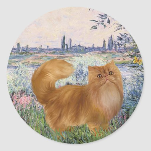 By the Seine - Red Persian cat Classic Round Sticker