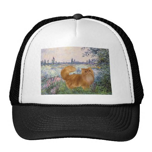 By the Seine - Red Persian cat Trucker Hat