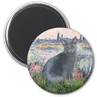 By The Seine- Russian Blue cat 2 Refrigerator Magnet