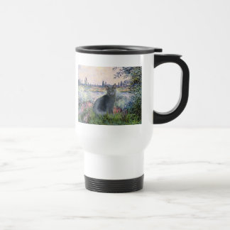 By The Seine- Russian Blue cat 2 Coffee Mugs