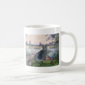 By The Seine- Russian Blue cat 2 Coffee Mug