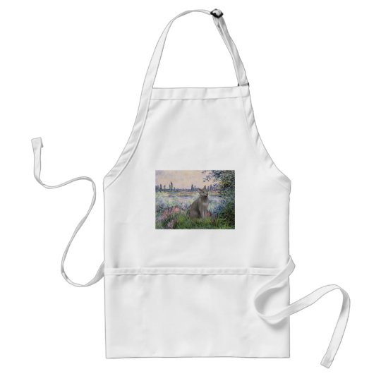 By the Seine - Russian Blue cat Adult Apron