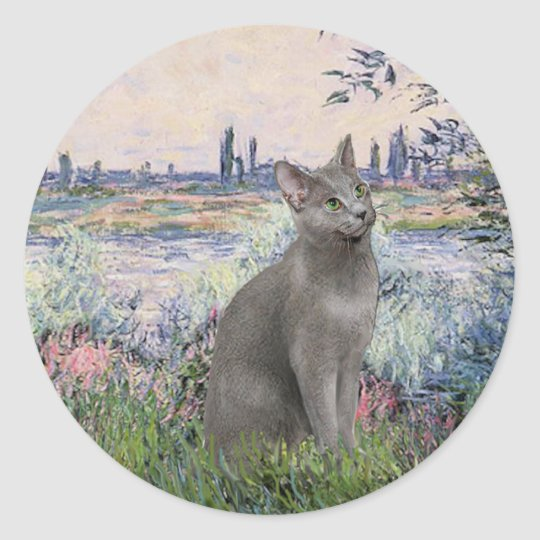 By the Seine - Russian Blue cat Classic Round Sticker