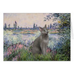 By the Seine - Russian Blue cat Greeting Card