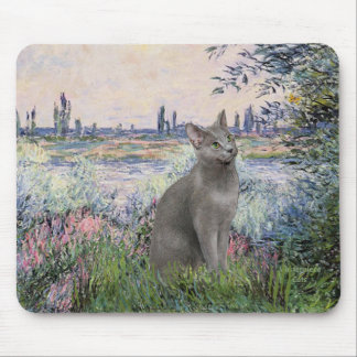 By the Seine - Russian Blue cat Mouse Pad