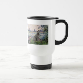 By the Seine - Russian Blue cat Mugs