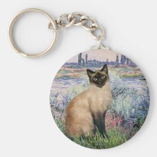 By the Seine - Seal Point Siamese cat Keychain
