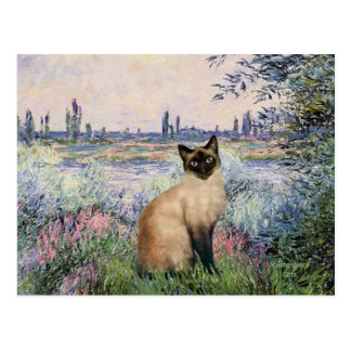 By the Seine - Seal Point Siamese cat Postcard