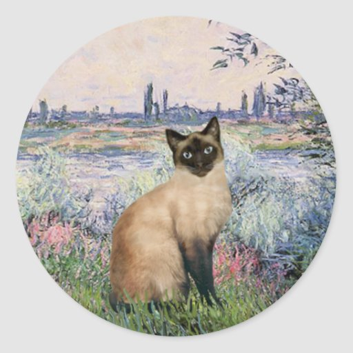 By the Seine - Seal Point Siamese cat Classic Round Sticker