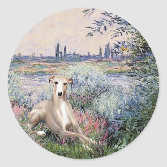 By the Seine - Whippet #2 Classic Round Sticker