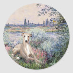 By the Seine - Whippet #2 Round Stickers