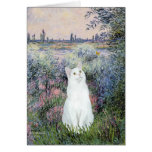 By the Seine - White cat Card