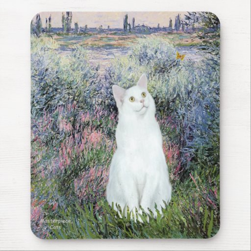 By the Seine - White cat Mouse Pad
