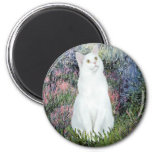 By the Seine - White cat Refrigerator Magnets