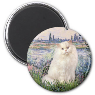 By the Seine - White Persian cat 2 Inch Round Magnet
