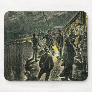 By the Train Victorian Worker Vintage Illustration Mouse Pad