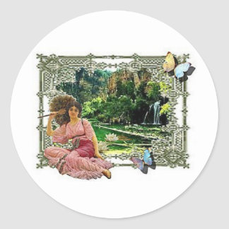 By the water classic round sticker