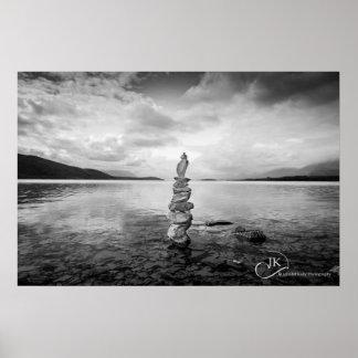 By the waters edge Lake Tekapo B W Posters