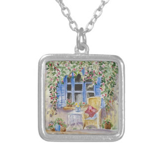 By the window square pendant necklace