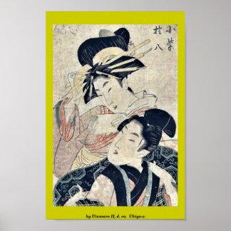 by Utamaro II, d. ca.  Ukiyo-e. Poster