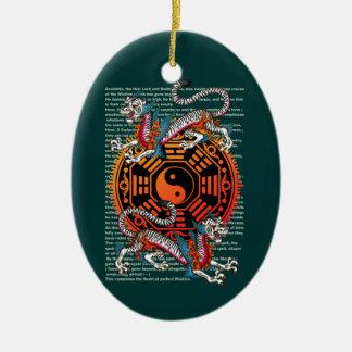 byakko 2 Double-Sided oval ceramic christmas ornament