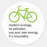 Bycicle: Modern Ecology Round Sticker