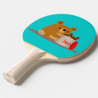 Bye Bye Honey! Cute Cartoon Bears Ping Pong Paddle