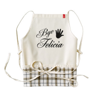 Bye Felicia Fancy Waving Hand Zazzle HEART Apron
