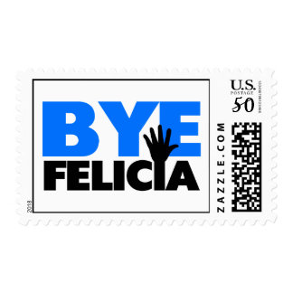 Bye Felicia Hand Wave Bold Blue Postage