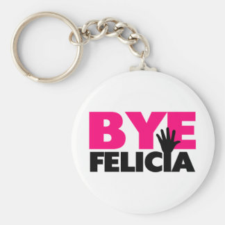 Bye Felicia Hand Wave Hot Pink Basic Round Button Keychain