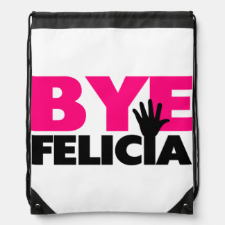 Bye Felicia Hand Wave Hot Pink Drawstring Backpack