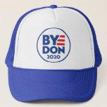 "ByeDon 2020 trucker hat<br><div class=""desc"">Biden 2020. Vote and get 'er movin. Right on outta here.</div>"