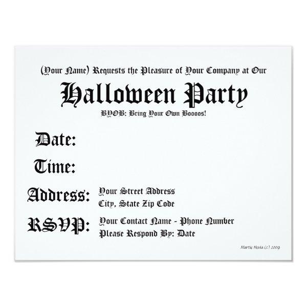 BYOB: Bring Your Own Boos Halloween Invitation