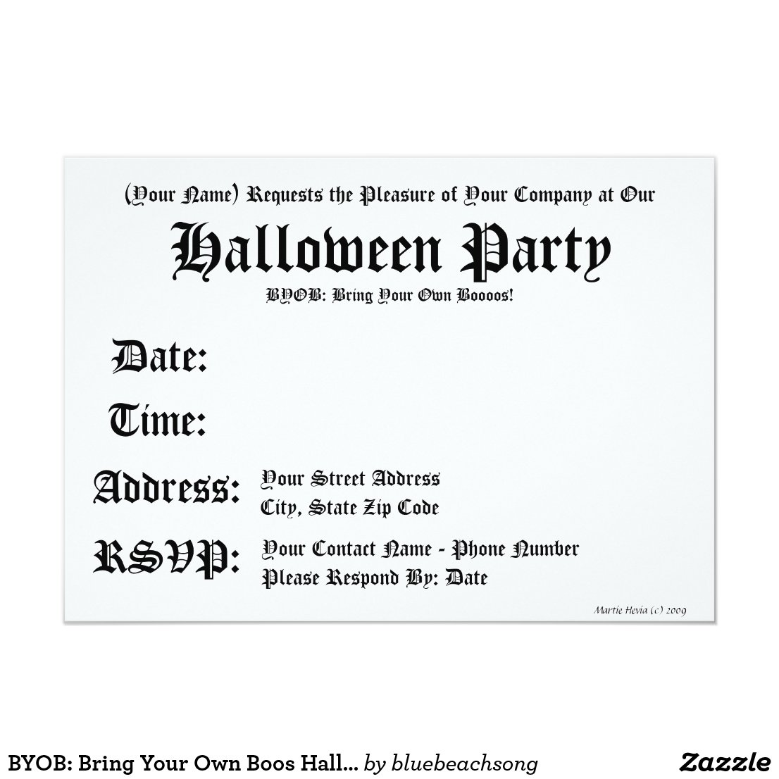 BYOB: Bring Your Own Boos Halloween Invitation