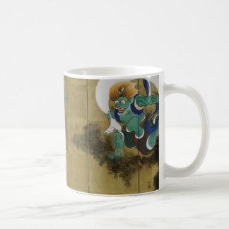 Byobu del japonés de dios del viento y de dios del taza de café