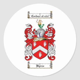 BYRNE FAMILY CREST -  BYRNE COAT OF ARMS CLASSIC ROUND STICKER