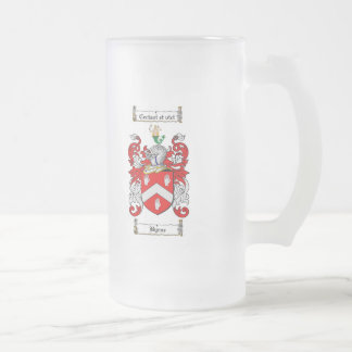 BYRNE FAMILY CREST -  BYRNE COAT OF ARMS FROSTED GLASS BEER MUG