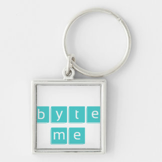 Byte Me Silver-Colored Square Keychain