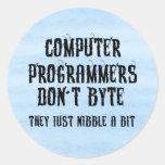 Byting Programmers Round Stickers