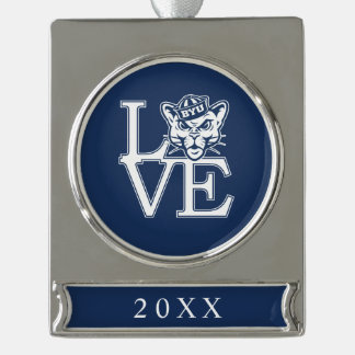 BYU Love Silver Plated Banner Ornament