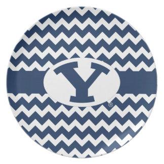 BYU Y | Chevron Pattern Dinner Plate