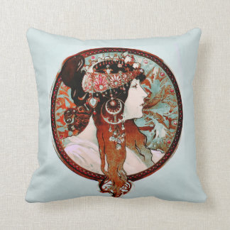 Byzantine Brunette Woman with Jewels Pillows