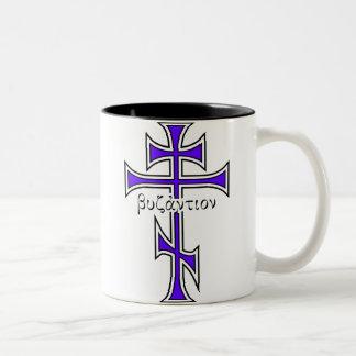 Byzantine Cross & Eagle Two-Tone Coffee Mug