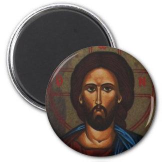 Byzantine Greek Orthodox Icon JESUS CHRIST 2 Inch Round Magnet