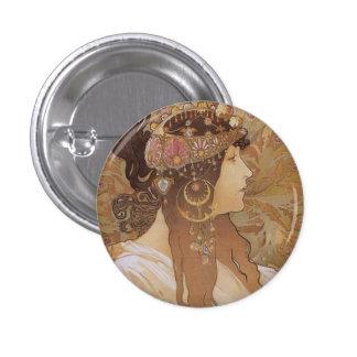 Byzantine Head: Brunette Pinback Button