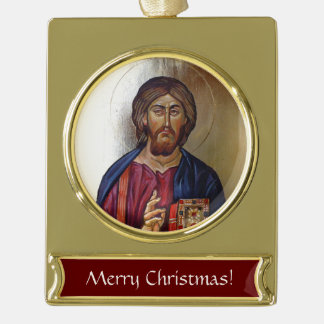 Byzantine Icon of Christ Pantocrator Gold Plated Banner Ornament