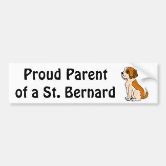 BZ- Adorable St. Bernard Puppy Dog Cartoon Bumper Sticker